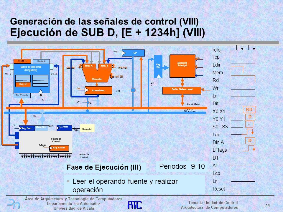 Generación de las señales de control (VIII) Ejecución de SUB D, [E + 1234h] (VIII)
